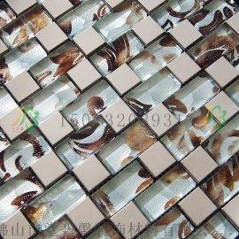 海南三亚欧式现代别墅专用**金属夹胶马赛克背景墙瓷砖尽在堂碧馨马赛克生产厂家批发