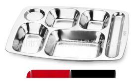 304不锈钢快餐盘, 不锈钢1.2厚3.3CM特深大六格快餐盘