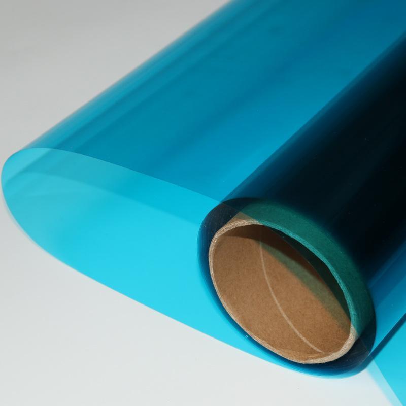 销售透明蓝色玻璃膜双面透光蓝色装饰膜防爆膜