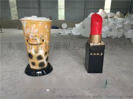 红遍世界各地的玻璃钢黑糖珍珠奶茶雕塑摆件