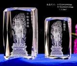 佛教不动明王菩萨水晶内雕纪念品定做
