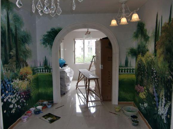 樣板房彩繪壁畫YBF-1 客廳牆體手繪牆繪i