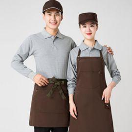春装新款酒店餐饮服务员火锅店餐厅网咖超市长袖T恤快餐店工作服