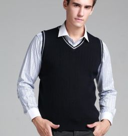 上海定做秋季新款男裝羊毛背心無袖 男式針織背心 V領羊毛背心