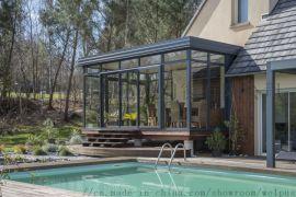 雙層夾膠玻璃房廠家 定制歐式隔音隔熱鋁合金方通陽光房