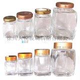 晶白料方形蜂蜜瓶玻璃罐電化鋁蓋子