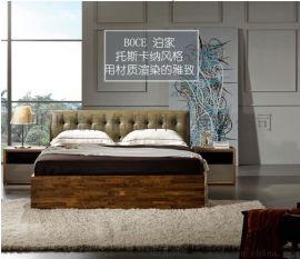 虎居现代简约风格 高端卧室家具 胡桃muji风实木床框架床 皮质软靠