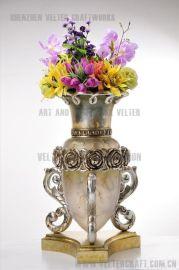 欧式家居饰品软装摆件透明树脂银玫瑰花插花瓶摆设