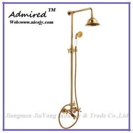 卫浴龙头-欧式时尚浴室淋浴龙头套装,铜材质,陶瓷阀芯,表面镀金(DFY-9002)