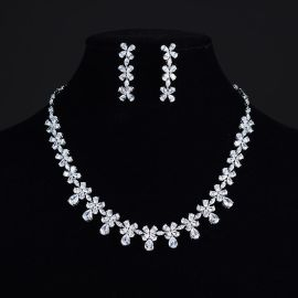 时尚奢华新娘饰品真白金微镶AAA锆石水滴形女士耳钉项链套装批发