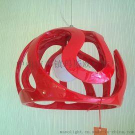 供应玛斯欧中山灯饰厂家直销头盔简约设计树脂石膏材质时尚吊灯MS-P1006S小款适用餐厅酒吧餐饮场所 简约LED吊灯