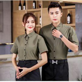 酒店餐饮餐厅酒楼服务员工作服定制男生制服西餐料理店工装印绣字