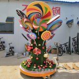 玻璃鋼組合戶外糖果裝飾組合 廠家定製玻璃鋼親子主題雕塑