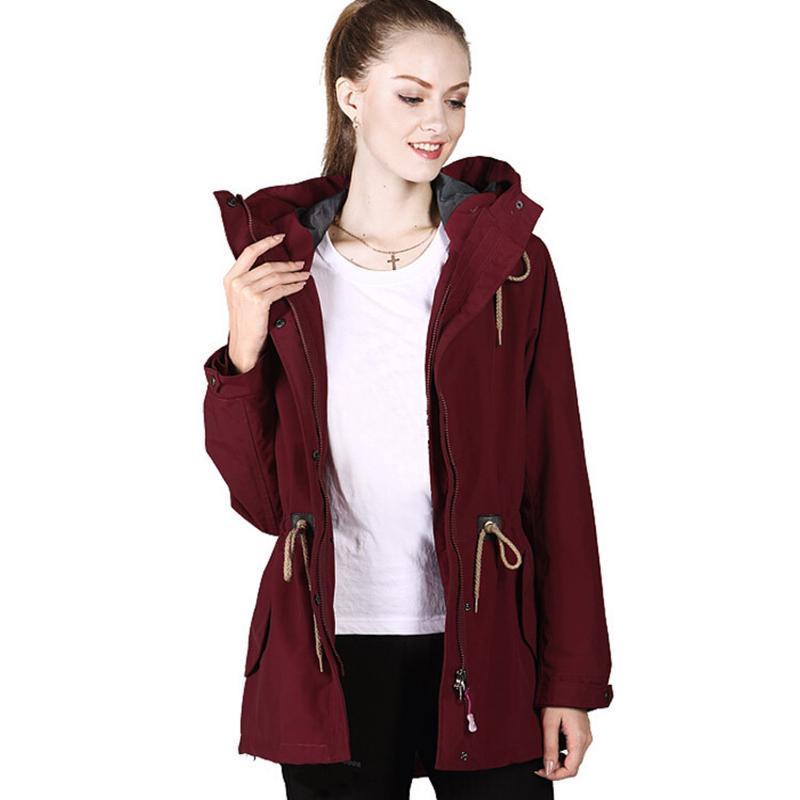 廠家批發秋冬新款衝鋒衣女式韓款修身女裝外套三合一女款可刺繡LO