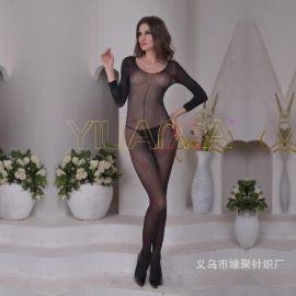 速賣通亞馬遜爆款情趣絲襪批發性感玫瑰花連袖子情趣連身衣絲襪