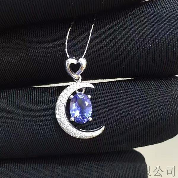 绚彩珠宝 18K金坦桑石吊坠 时尚清新款式 0.77克拉椭圆形坦桑石裸石
