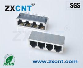 四口千兆变压器网络接口,RJ45连接器ZXRJ-2145-00NL