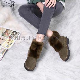 雪地靴女新款磨砂真皮甜美韓版小耳朵兔毛絨面舒適平底鞋短靴棉鞋
