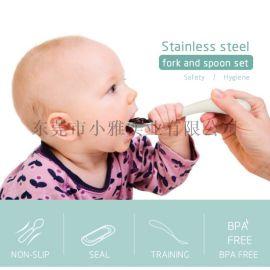 宝宝餐具套装304不锈钢叉勺儿童训练餐叉勺两件套