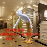 玻璃钢树脂艺术品雕塑人物描绘酒店KTV会所餐厅礼仪迎宾道具人
