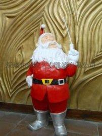 深圳厂家直销低价彩绘玻璃钢圣诞老人雕塑工艺品