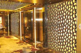 酒店装饰彩色幕墙_钛金不锈钢屏风花格定制