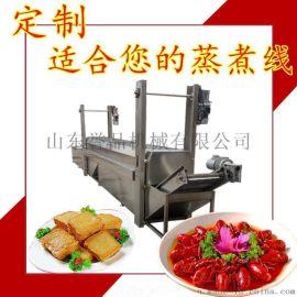 蒸汽式腊肉粽子隧道蒸煮机小龙虾高低温漂烫流水线
