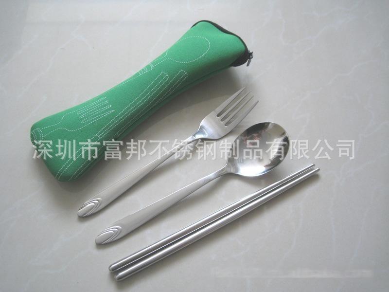 高品质不锈钢勺叉, 潜水布袋餐具勺叉筷三件套
