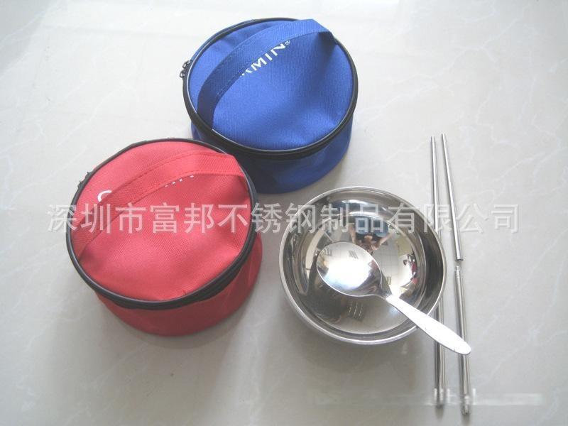 旅行碗包套裝, 圓形布袋不鏽鋼碗勺筷套裝食具