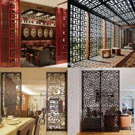 厂家定制中式木纹铝屏风铝窗花室内外隔断镂空铝窗花
