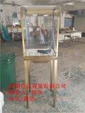 不锈钢透明玻璃立式展示柜弧形珠宝展览柜台产品陈列柜