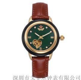 和田青玉机械表五角星标志女士机械手表真皮表带