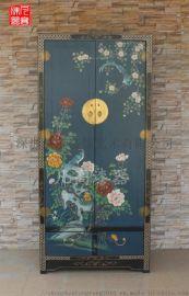 凡高漆器藍底樟木牡丹花鳥衣櫃