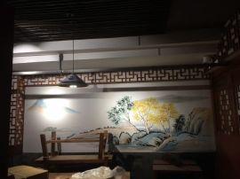 南京餐厅餐馆墙绘C 手绘壁画B1 中式装修