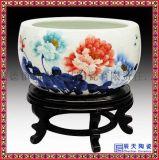景德鎮陶瓷聚寶盆青花瓷魚缸山水畫風水工藝品擺件