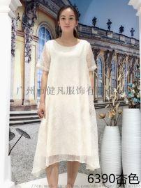韩国真丝连衣裙 品牌折扣女装 库存服装一手货源