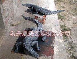 鳄鱼雕塑模型玻璃钢动物模型