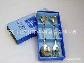 礼品餐具 不锈钢勺叉两件套 餐具套装 心形勺叉套装