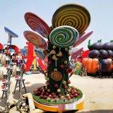 玻璃钢棒棒糖组合雕塑 厂家定制户外亲子主题雕塑