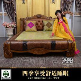 双东玉玉石床垫DY5013双人床真皮实木雕花床冬暖夏凉远红外线  加热床