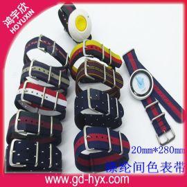 深圳  观澜工厂大量订做尼龙手表带 一体扣表带   运动手腕带不锈钢扣表带