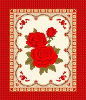 宽幅春亚纺红玫瑰图案床垫装饰布 (WH247#)