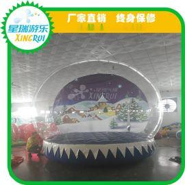 充气水晶宫海洋球池 透明泡泡屋 波波球池玩具充气蹦蹦床三角滑梯
