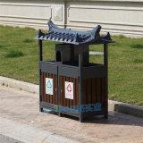 户外垃圾桶分类钢木双桶垃圾箱防腐木景区户外垃圾箱