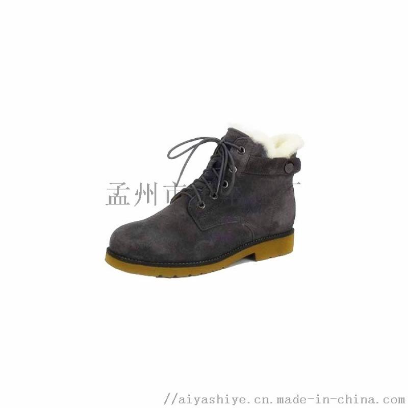 伊丰鞋业品牌2018秋冬绒面新款翻毛女马丁靴