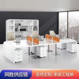 简约现代职员办公桌4人位白色烤漆办公桌组合电脑桌