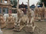 石雕晚霞红大象一对风水招财石象酒店别墅门口雕塑