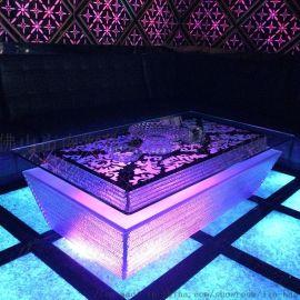 KTV茶几发光欧式不锈钢玻璃酒吧卡座吧台LED桌子