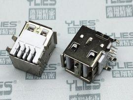 502-USB连接器 母座双层90度无弹
