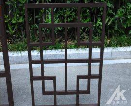 定制特大 造型铝窗花隔断 仿木纹铝花格 造型窗花 铝合金方管焊接成形